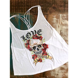 No Boundaries Skull Love Knotted Strappy Tank Top